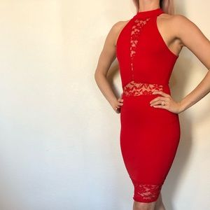 Sexy Charlotte Russe Red Dress with lace